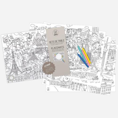 Χάρτινα Σουπλά Ζωγραφικής Διάσημες Πρωτεύουσες - Placemats Citymap OMY