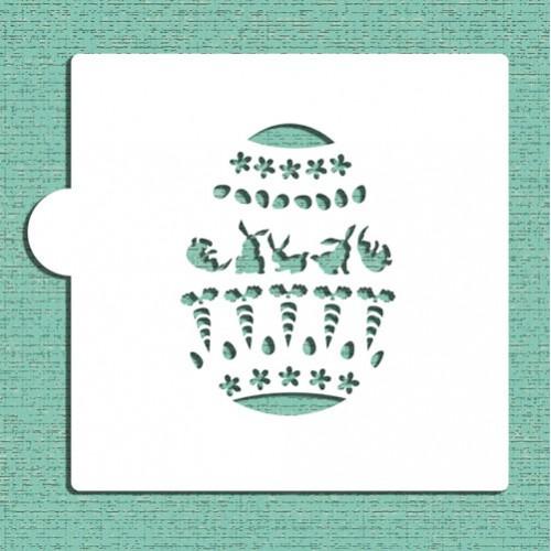 Bunnies and Carrots Easter Egg Stencils - Στένσιλ Για Πασχαλινά Μπισκότα Λαγοί Και Καρότα Designer Stencils