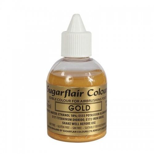Χρυσό Μεταλλικό Χρώμα Αερογράφου της Sugarflair 60ml