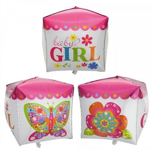 Foil Μπαλόνι Cube Baby Girl (35x70cm)