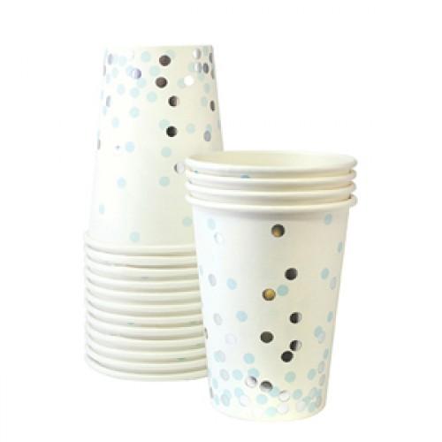 Silver And Blue Confetti Cups-Ποτήρια Με Γαλάζιο Και Χρυσό Κομφετί (12pcs)