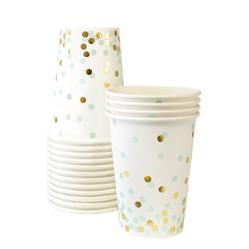 Gold And Mint Confetti Cups-Ποτήρια Μέντα Και Χρυσό Κομφετί (12pcs)