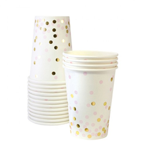 Gold And Pink Confetti Cups-Ποτήρια Με Ροζ Και Χρυσό Κομφετί (12pcs)