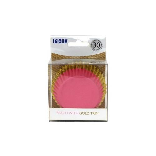Ροδακινί Ροζ με Χρυσό Καραμελόχαρτα Αλουμινίου PME 30pcs