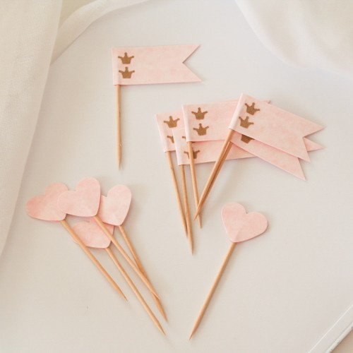 Cupcake Toppers-Ροζ Καρδιές Και Σημαίες-Hand Made by Ministry Of Art (6pcs)