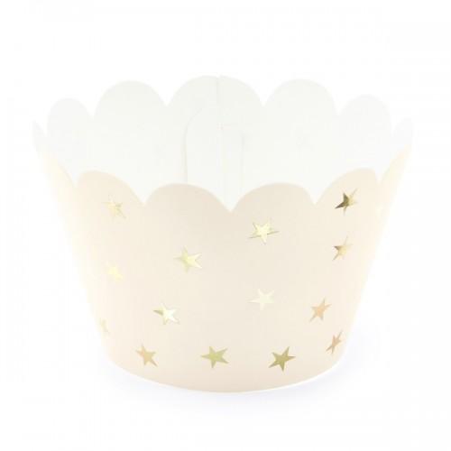 Χάρτινες Θήκες Σομόν Με Χρυσά Αστέρια Cupcake Wrappers PartyDeco