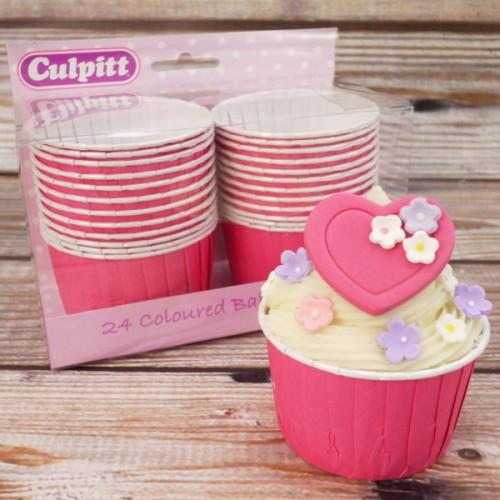 Culpitt Φούξια Σαγρέ Θήκες- 24 Hot Pink Baking Cups