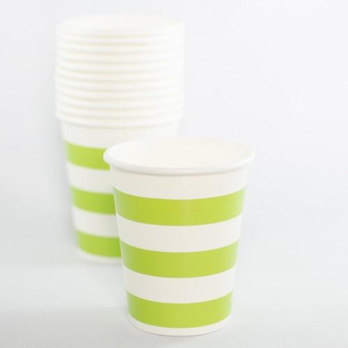 abcJoy πράσινα ριγέ χάρτινα ποτήρια (12-pack)