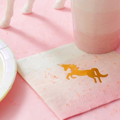 Παστέλ Χαρτοπετσέτες Μονόκερος-Unicorn Pastel Cocktail Napkins(16-pack)-Talking Tables