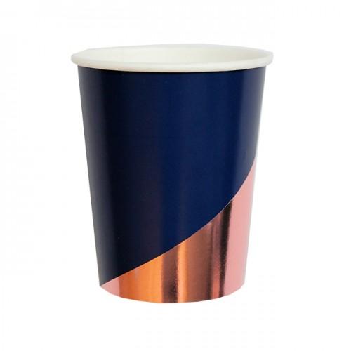 Χάρτινα Ποτήρια Σε Μπλε Σκούρο Και Ροζ Χρυσό -Erika By Harlow & Grey