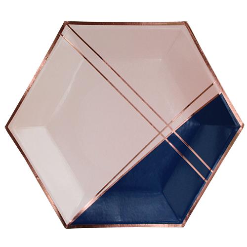 Χάρτινα Πιάτα Σε Μπλε Σκούρο, Ροζ  Και Ροζ Χρυσό -Erika By Harlow & Grey