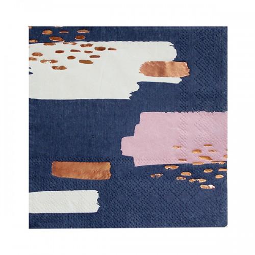 Χαρτοπετσέτες Σε Μπλε Σκούρο, Ροζ Χρυσό Και Λευκό-Erika By Harlow & Grey