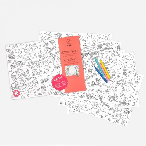 Χάρτινα Σουπλά Ζωγραφικής Φανταστικοί Κόσμοι - Placemats Fantastic OMY