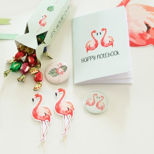 """Κονκάρδες Φλαμίνγκο Party Pins Για Δώρα Και Party Favors-The Flamingo Collection By """"Βαν Ντιζάιν"""""""