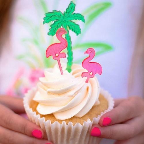 Sticks Φαγητού-Cupcake Toppers-Ροζ Φλαμίνγκο (24pcs)-Unique