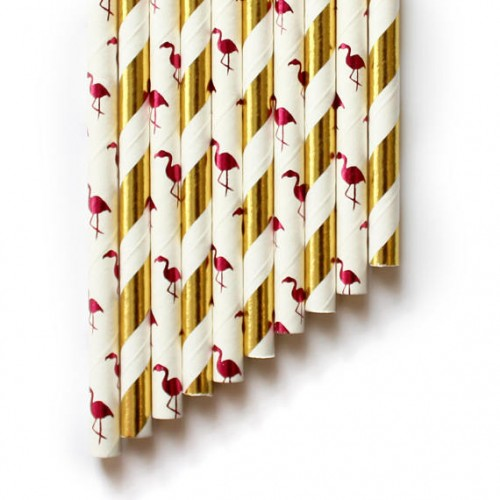 AbcJoy Χάρτινα Καλαμάκια Φλαμίνγκο Λευκό Με Φούξια Foil (25-pack)