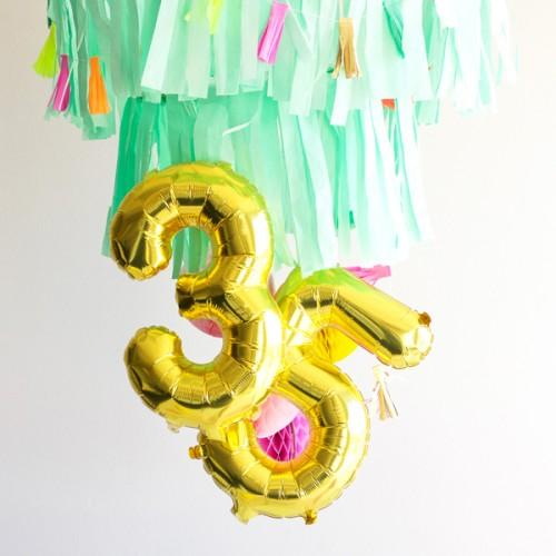 Μπαλόνια Χρυσά Foil Αριθμοί 34''-Unique-Επιλέξτε Αριθμό