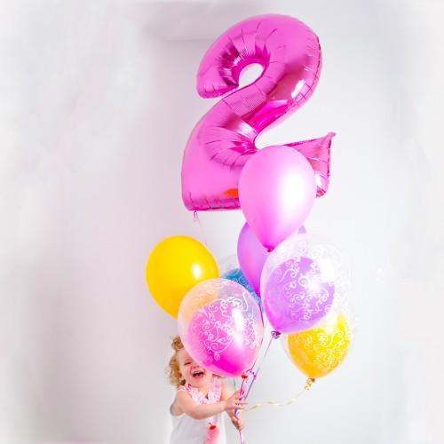 Μπαλόνια Φούξια Foil Αριθμοί 34''-Unique -Επιλέξτε Αριθμό