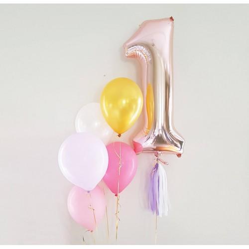 Μπαλόνια Ροζ-Χρυσά Foil Αριθμοί 34''-Rose Gold Balloons-Επιλέξτε Αριθμό
