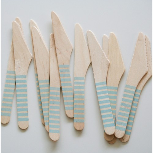 abcJoy γαλάζια ριγέ ξύλινα μαχαιράκια  (12-pack)