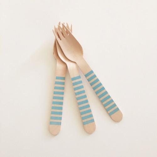abcJoy γαλάζια ριγέ ξύλινα πιρουνάκια  (12-pack)