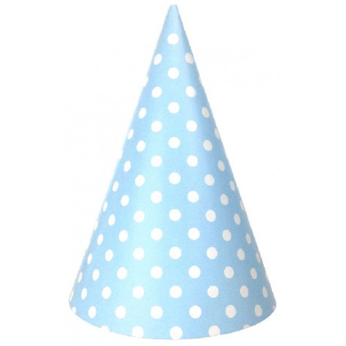 abcJoy γαλάζια πουά χάρτινα καπέλα (6-pack)