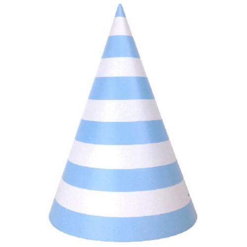 abcJoy γαλάζια ριγέ χάρτινα καπέλα (6-pack)