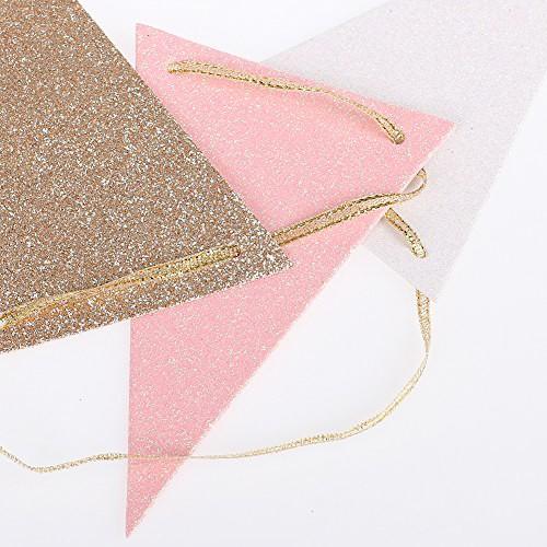 Χάρτινα Σημαιάκια Ροζ-Χρυσό-Λευκό Glitter