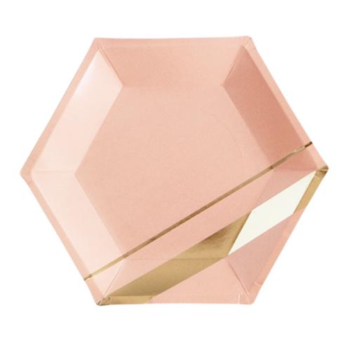 Χάρτινα Εξάγωνα Πιάτα Σε Ροζ Και Χρυσό Foil-Goddess By Harlow & Grey