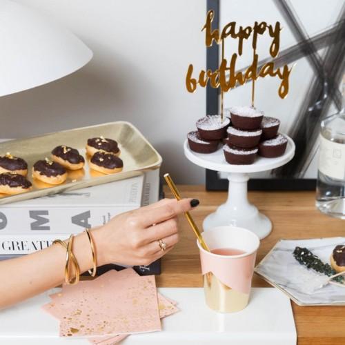 Happy Birthday Χρυσό Cake Topper - Gold Mirrored Topper By Harlow & Grey