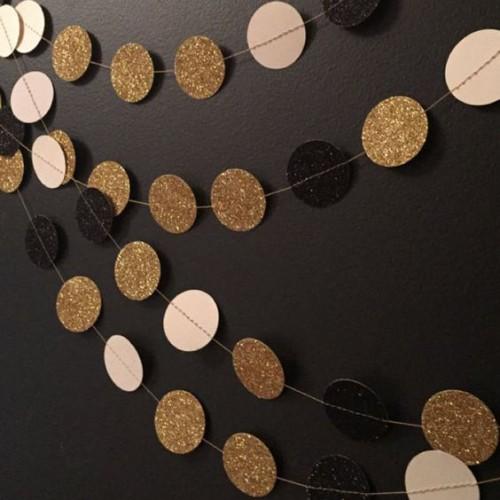 "abcJoy Χρυσή-Λευκή-Μαύρη Χάρτινη Γιρλάντα ""Pop Dots"""