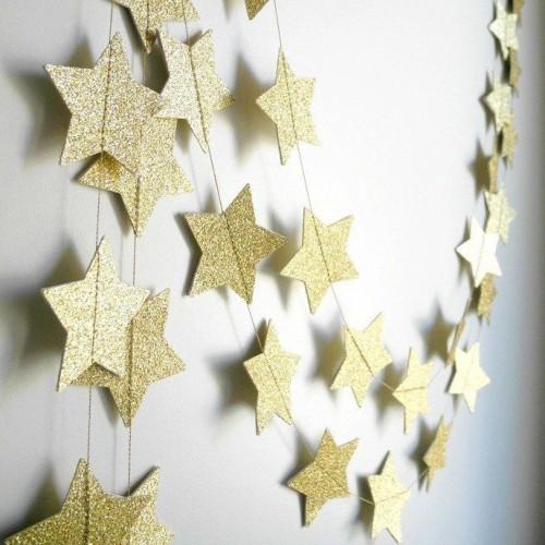 abc joy γιρλάντα με mini χρυσά glitter αστέρια