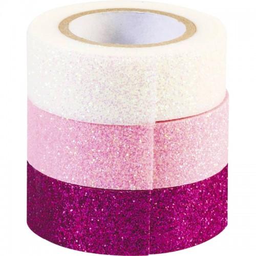 Ροζ Λευκή Φούξια Γκλίτερ Washi Tape Ταινία