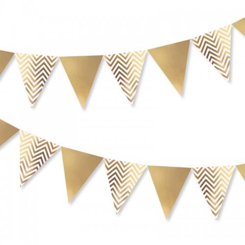 Χάρτινα Σημαιάκια Χρυσά Chevron-Gold Foil Flag Garland