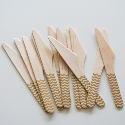 abcJoy χρυσά chevron ξύλινα μαχαιράκια  (12-pack)