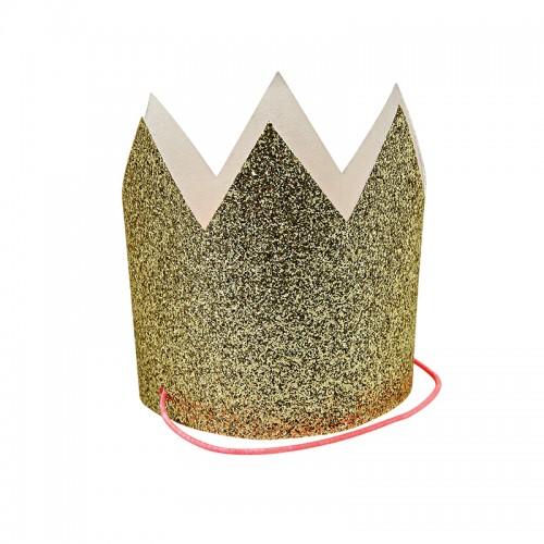 Μικρές Χρυσές Κορώνες Με Γκλίτερ-Mini Gold Glittered Crowns-Meri Meri