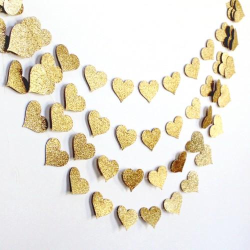 Γιρλάντα Με Glitter Καρδιές-Επιλέξτε Χρώμα