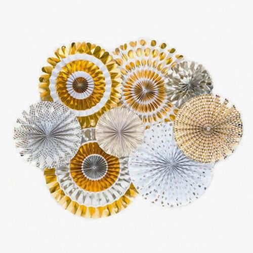 Paper Fan Set Μεταλλικές Ανταύγειες Χρυσές Και Ασημί
