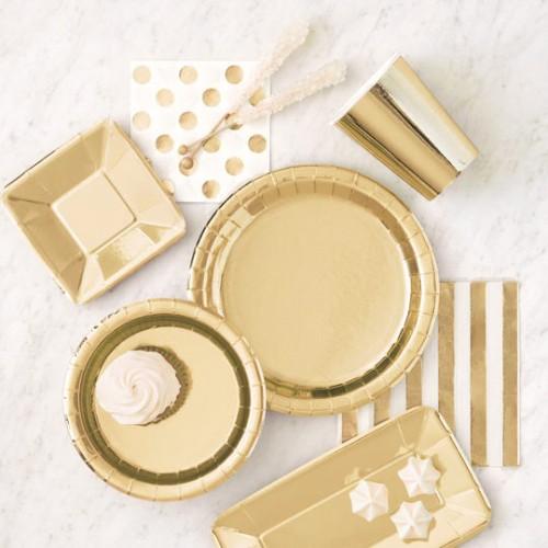 Λευκές Χαρτοπετσέτες Με Πουά Χρυσό Foil (16-pack)
