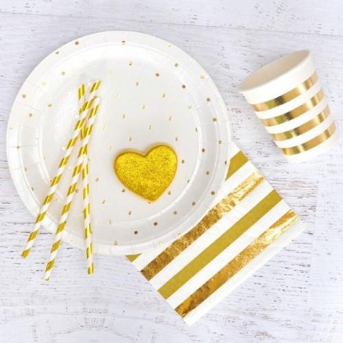 abcJoy χρυσά foil ριγέ χάρτινα καλαμάκια (25-pack)