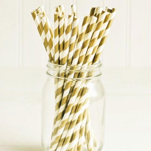 abcJoy χρυσά ριγέ χάρτινα καλαμάκια (25-pack)