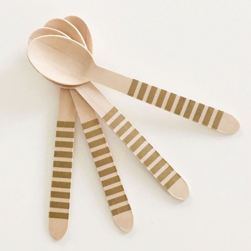 abcJoy χρυσά ριγέ ξύλινα κουταλάκια  (12-pack)