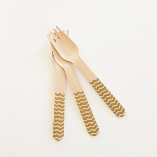abcJoy χρυσά chevron ξύλινα πιρουνάκια  (12-pack)