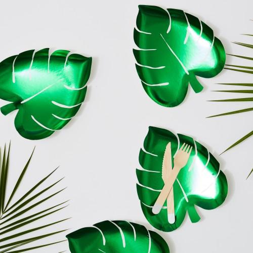 Palm Leaf Plates-Χάρτινα Πιάτα Φύλλο Φοίνικα (8pcs)-Meri Meri