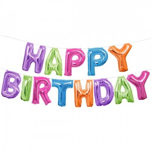 Μεταλλικά Πολύχρωμα Μπαλόνια Happy Birthday Banner Kit