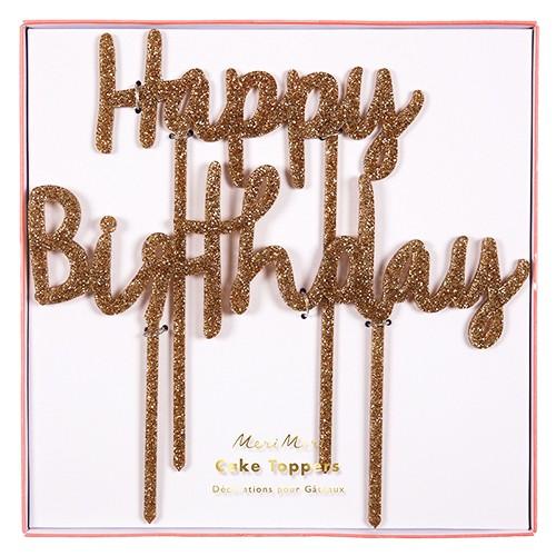 Happy Birthday Χρυσό Glitter Τόπερ Τούρτας Γενεθλίων