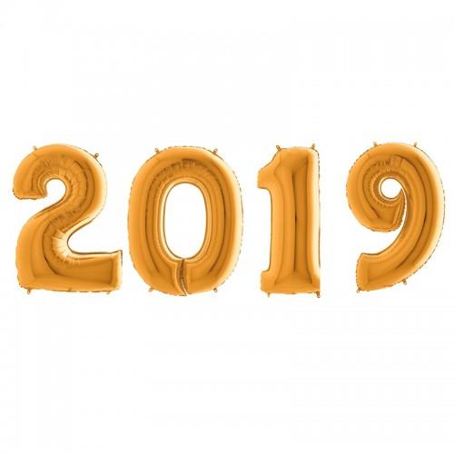 Χρυσά Μεταλλικά Μπαλόνια Αριθμοί  2019