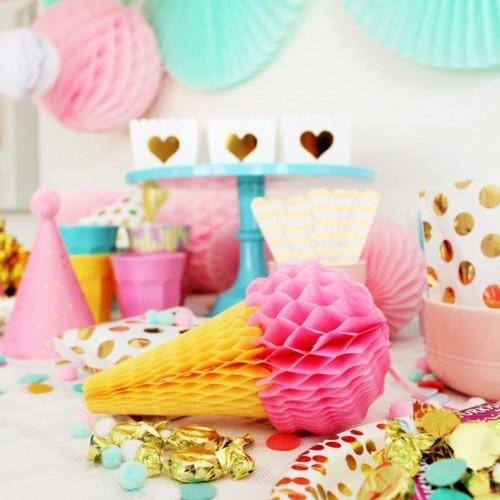 Σετ Honeycombs Χωνάκια Παγωτό Τρία Χρώματα 20cm