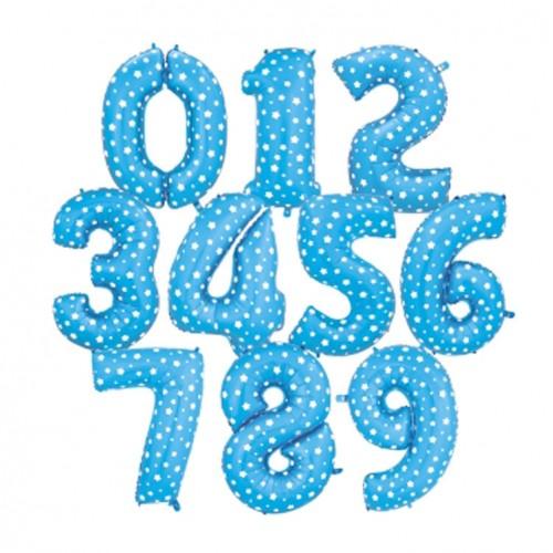 Μπαλόνια Foil 16'' Μπλε με Λευκά Αστέρια-Επιλέξτε Αριθμό
