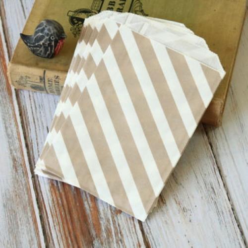 abcJoy ριγέ γκρι σακουλάκια χάρτινα (25-pack)